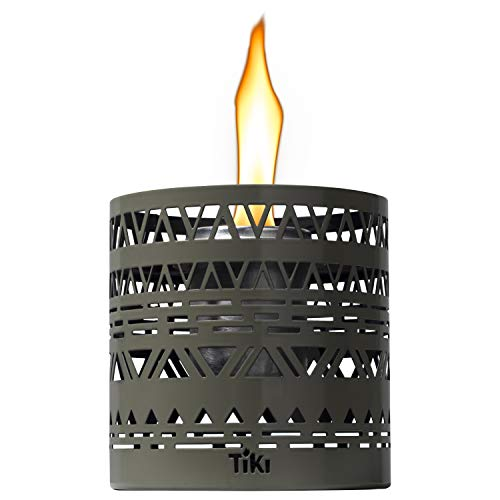 Tiki Brand 1118049 5-inch Clean Burn FlameShield Boho Table Lantern Gray Torch, 5.00