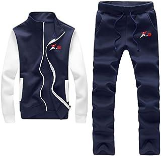X-2 Mens Athletic Tracksuit Sets Full Zip Warm Jogging Sweatsuit Activewear Suit