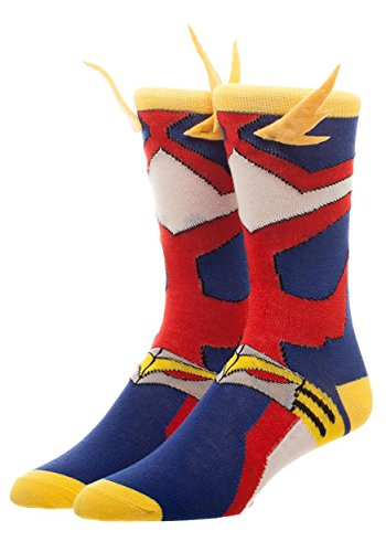 Bioworld My Hero Academia Cosplay Men's Crew Socks 3D Wings , Red, Blue, Yellow, White, Standard