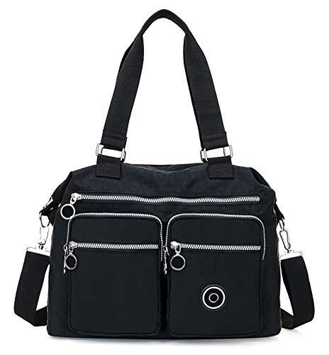 GFM® Damen Umhängetasche Nylon Handtasche - Größe - S4-752sb-kl-schwarz
