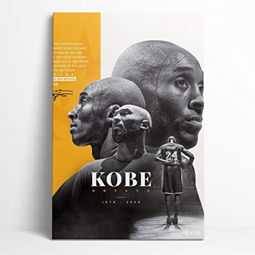 RIP Kobe Bryant - Póster de un panel de pintura de pared con marco de 20 x 30 cm, diseño de balón de baloncesto Hall of Fame Kobe Bryant