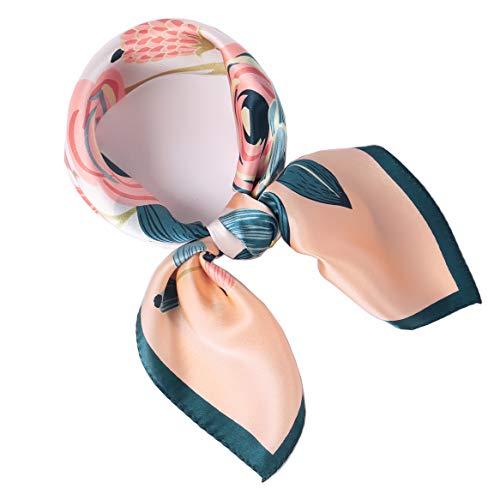 laprée - Sciarpa Seta Donna Foulard Chic Sciarpa Piccolo Quadrato di Seta 52 * 52CM Fiore Rosa