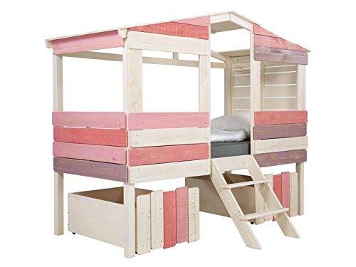 massivum Kinder-Bett Safari 221x179x100 cm aus Holz Pinie massiv weiß und rosa lackiert Mädchen-Bett für Kinderzimmer Liegefläche 90x200 cm