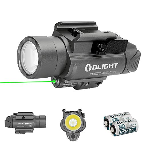 Olight Baldr Pro 1350 Lumens Tactical Flashlight,with Green Light and White LED,Compatible with 1913 or GL Rail, Powered by 2 CR123A Batteries,with SKYBEN Battery Box (Gunmetal Grey)