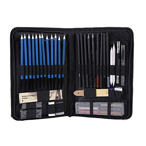 Set di matite per schizzi da disegno da 48 pezzi, kit artistico con matite per schizzi Matita di grafite Matite a carboncino Matite pastello A5 Borsa per il trasporto del libro di pittura,