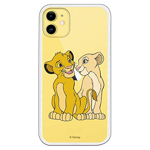 Funda para iPhone 11 Oficial de El Rey León Simba y Nala Silueta para Proteger tu móvil. Carcasa para Apple de Silicona Flexible con Licencia Oficial de Disney.