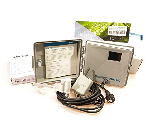 Plug&Rain Smart-Bewässerungsteuerung, Hunter Pro-HC 6 Stationen mit Funk-Regensensor Expert