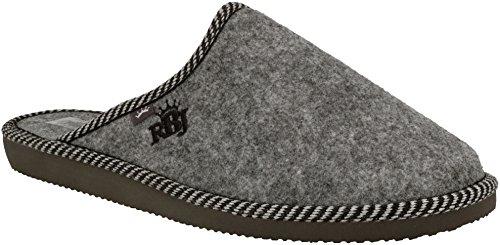 RBJ leather shoes Herren Natur Wollfilz Pantoffeln für Wohlgefühl - warm, atmungsaktiv, natürlich, Handarbeit, Qualität (46 EU, Grau 903A)