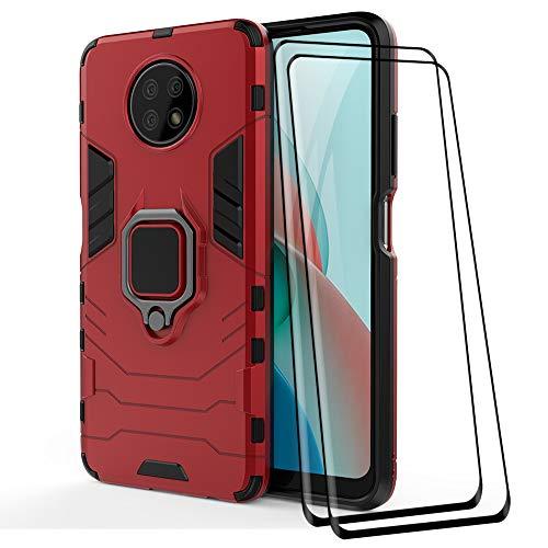 ALAMO Funda de Armor para el Xiaomi Redmi Note 9T 5G, Carcasa TPU+PC Antigolpes con Anillo Soporte [con 2 Pack Protector de Vidrio Templado para Pantalla ] - Rojo