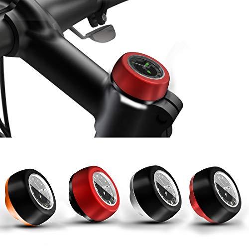 jiankun Reloj con Auriculares para Bicicleta, Piezas de vástago de Ciclismo, Cubierta de Tapa Superior para vástago de Bicicleta(Negro y Plata)