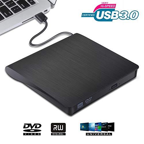 VGROUND Masterizzatore DVD CD Esterno, Unità DVD Esterna USB 3.0 DVD/CD Drive Dispositivo Lettore di Schede Portatile Ultra Slim External Disc per PC Windows 7/8/10/XP/Vista/Mac OS