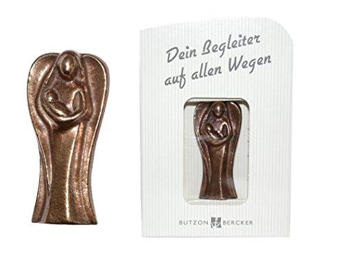 Handschmeichler Schutzengel mit Kind, Bronze, 5,5 cm