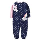 Mameluco Bebe Manga Larga Fleece Mono Pijamas Cremallera Pelele Unicornio arcoiris/80