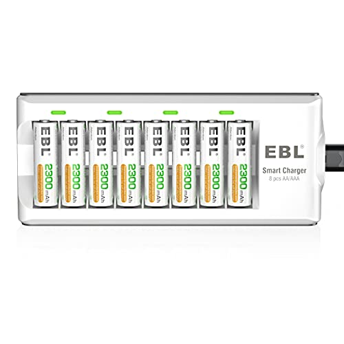 EBL AA AAA Battery Charger with 8pcs 2300mAh Rechargeable AA Batteries,...