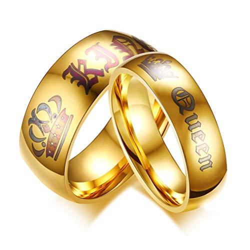 OIDEA Paar Ringe His Queen Her King Krone Eheringe EdelstahlRinge Gold für Damen Herren mit Geschenkbox