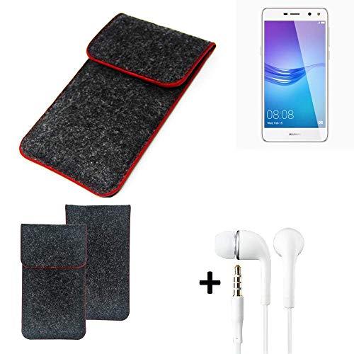 K-S-Trade Handy Schutz Hülle Für Huawei Y6 (2017) Single SIM Schutzhülle Handyhülle Filztasche Pouch Tasche Hülle Sleeve Filzhülle Dunkelgrau Roter Rand + Kopfhörer