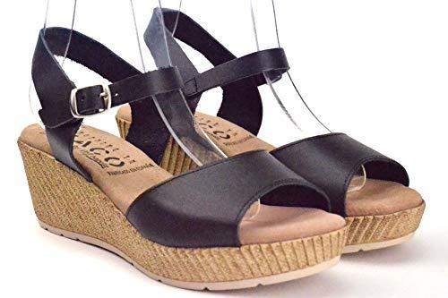 Sandalia cuña de Piel y Plantilla de Gel. 1017 oh!! isabella. Calzado Verano Negro, CUÑA Negra Comoda, Calzado Comodo para Mujer, Sandalias Piel Negra