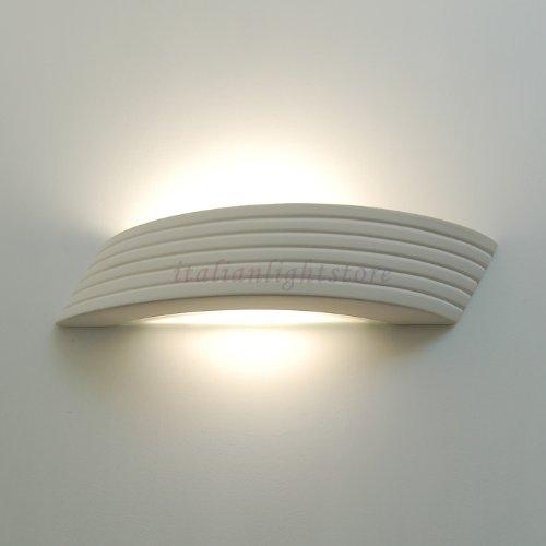 Applique Lampada A Parete Moderna Decorabile In Ceramica Gesso Colorabile Verniciabile- Linea Ceramica- Illuminazione Interni
