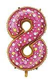 PARTY Globos de Cumpleaños - Número Grande Tipo Donut - Fiesta de cumpleaños y Aniversarios - Gigante 105 cm - Hinchable - Tamaño XXL (8-Donut)