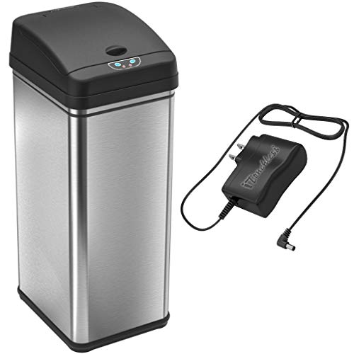 iTouchless 13 Gallon Sensor Trash Can with AC Adapter, Battery-Free Stainless Steel Automatic Bin with Odor Filter, Great for Kitchen and Office