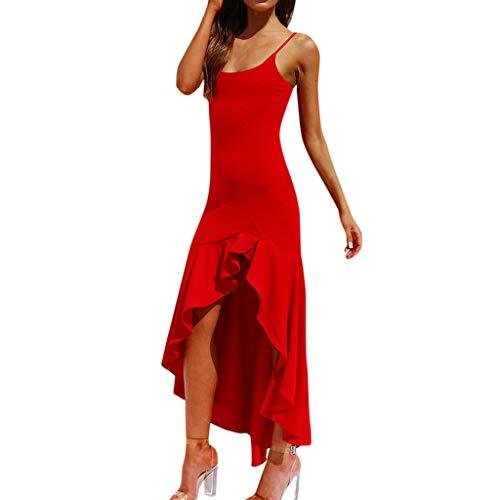 Tyoby Damen Schlinge Kleid Ärmellos Unregelmäßiger Rüschen Prinzessinenkleid(rot, S)