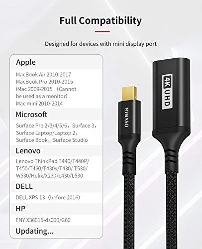 NIMASO 4K Adaptador Mini DisplayPort a HDMI, Adaptador Thunderbolt a HDMI para MacBook Air/Pro, Microsoft Surface Pro… 7