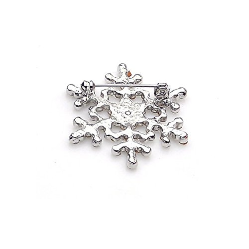 Moent Broche de moda con cristales de estrás grandes, copo de nieve de invierno, tema de nieve, día de San Valentín, aniversario, cumpleaños, regalo para su esposa, novia, color blanco