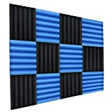 """NRG Acoustic Double Thick Studio Acoustic Wedge Foam Panels 12 Pack of 12""""x12""""x2"""" (Blue/Charcoal)"""