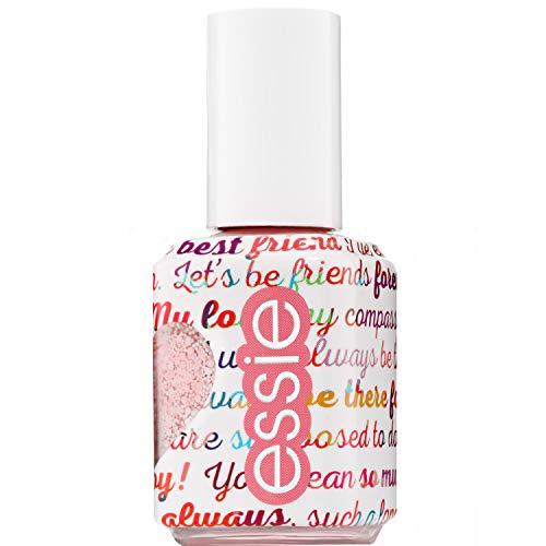Essie Galentines Galentine matte glitter Top Coat nagellak, wit en roze wit