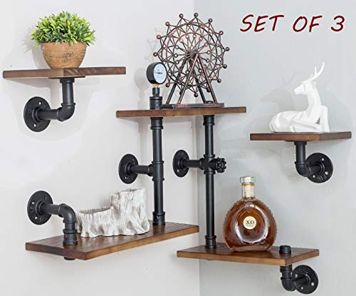 BIXIRAO Industrial Rustic Modern Wood Ladder Pipe Wall Mounted Floating Shelves - Set of 3 Bookshelf,DIY Storage Shelving,Hung Bracket,Bookcase