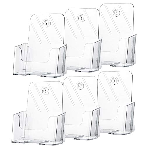 MaxGear 6 Pack Acrylic Brochure Holder 6 x 8 Inches Plastic Magazine Holder, Clear Literature Holder Trifold Pamphlet Display Stand for Wall Mount or Countertop