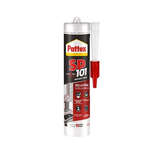 Pattex SP 101 Instant Tack Adesivo sigillante, Adesivo universale multimateriale che non cola, Sigillante universale applicabile sul bagnato, bianco, cartuccia da 280 ml