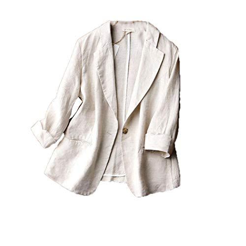 Mujeres de verano 3/4 manga suelta casual Blazers, un solo botón de algodón de lino de algodón Blezer sólido,Femme abrigo más tamaño, Beige, L