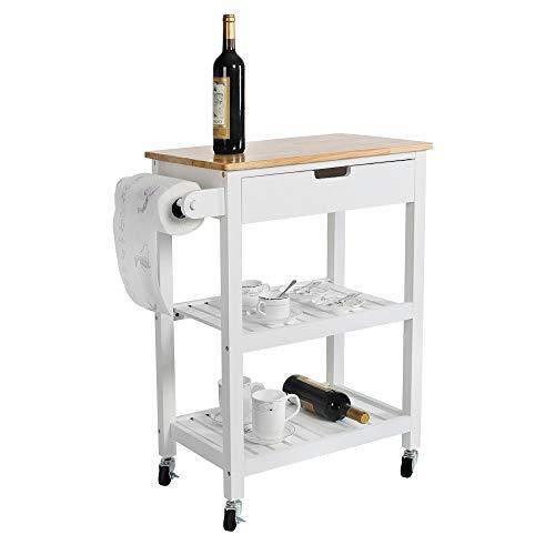 LUCKWIND Island Cart Serving Wheel – Home Kitchen Dining Bar Rolling Shelf Storage Cabinet Wood Rack Drawer Counter Break Towel Bar for Microwave Seasoning White/Grey (Wood White)