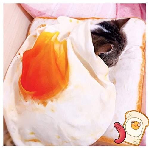Jjek Creative Kat Bed, Toast Omelet Pluche Schattig Wasbaar Warm Persoonlijkheid voor Huisdier Bed (klein), Style 1