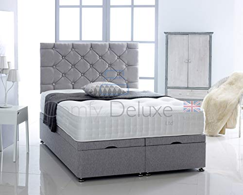 Chenille Fabric Ottoman Side Lift Bed Base with HEADBOARD ONLY by Comfy Deluxe LTD (Silver, 4FT6...