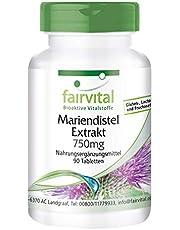 Mariadistel extract - HOOG GEDOSEERD met 750mg mariadistel extract per tablet - VEGAN - 80% silymarine - 90 tabletten