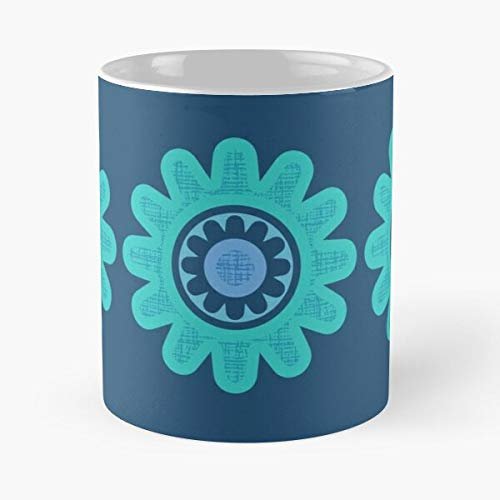 Pattern Floral Lilac Vintage Retro Flower Turquoise Blue Best Mug hält Hand 11oz aus weißer Marmorkeramik