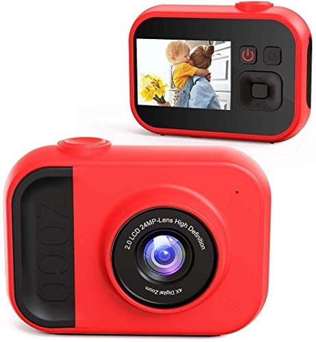 Kids Camera for Girls and Boys, Kids Digital Camera 2.0 Inches Screen 24MP 1080P Video Camcorder Mp3 Games Children Cartoon Selfie Cameras Toys for Gifts - 32GB Memory Card Included
