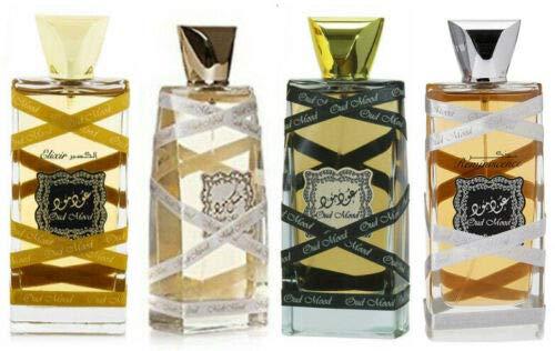 Lattafa Perfume Halal Perfume EDP en spray de 100 ml Oud Mood Musk Elixir Reminiscence paquete de 4