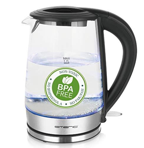 Emerio WK-123132, Glas Wasserkocher 1.7L, BPA frei, bestes Borosilikatglas, 2200 Watt, schöne blaue LED Beleuchtung, Auto Off, Überhitzungsschutz, mit hochwertigem Edelstahl abgedecktes Heizelement