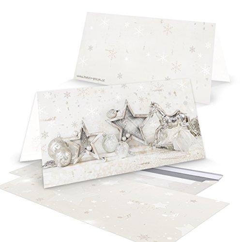 '100pezzi stesso biglietti di Natale 'shabby cavallo a dondolo argento con busta; DIN lungo (chiuso 10,5x 21cm), anche interni Toll stampato; 1A qualità.