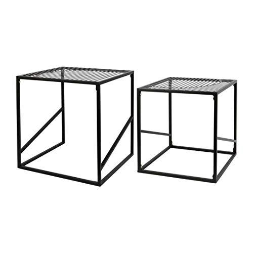 ZONS - Set di 2 tavolini estraibili in metallo, colore: Nero