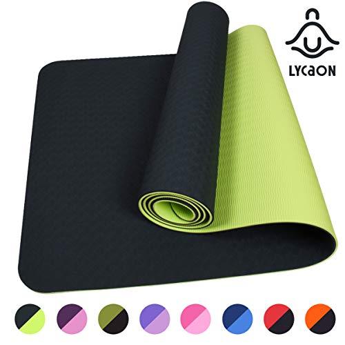 LYCAON Gymnastikmatte Yogamatte Fitnessmatte Pilates Gymnastikmatte 183 x 61 x 0,6cm rutschfeste Matte aus TPE-Material für Pilates/Sit-Ups/Stretching/Meditation/Aerobic | 8 Farben (Dunkelgrün)