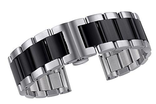 Pulsera de Banda de Reloj de Acero Inoxidable de Primera Calidad de 19 mm Pulsera de Plata de Doble Tono y Enlaces Desmontables Negro