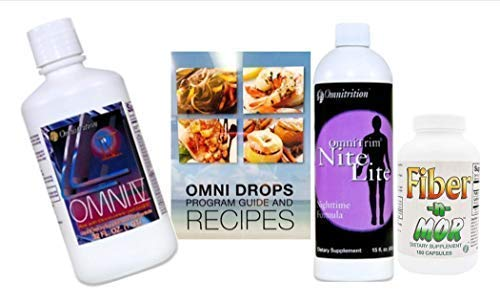 Omnitrition Omni Drop Program Bundle - the 'FAB4' Includes: Omni Drops Diet Drops With Vitamin B12 - 4 Ounce Bottle With Program Guide, Omni IV With Glucosamine, OmniTrim Nite Lite, Fiber n Mor