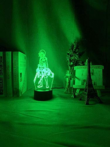GMYXSW 3D llevó ilusión lámpara ataque a Titan mikasa Ackerman figura chica noche para dormitorio decoración luz LED USB batería lámpara evento premio