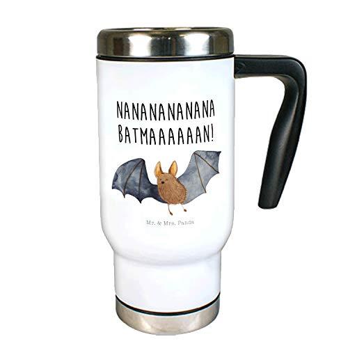 Mr. & Mrs. Panda Kaffeebecher, Thermotasse, Edelstahl Thermobecher Fledermaus fliegend mit Spruch - Farbe Weiß