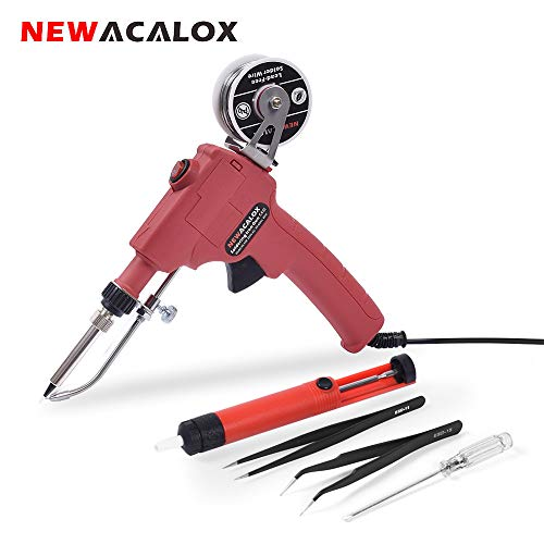 Soldering Iron Gun Kit 6 in 1, 60W 110V Professional Automatic Solder Gun, Handheld Soldering with Desoldering Pump, Tweezers, Lead-Free Solder Wire, for Electrician Circuit Board Repair