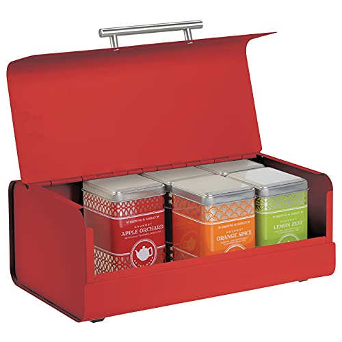 mDesign Metal Bread Box Bin with Hinged Lid - for Kitchen Countertop, Island and Pantry - Large Capacity Storage, Vintage-Inspired Design - Multi-Purpose Storage Container for Home - Red